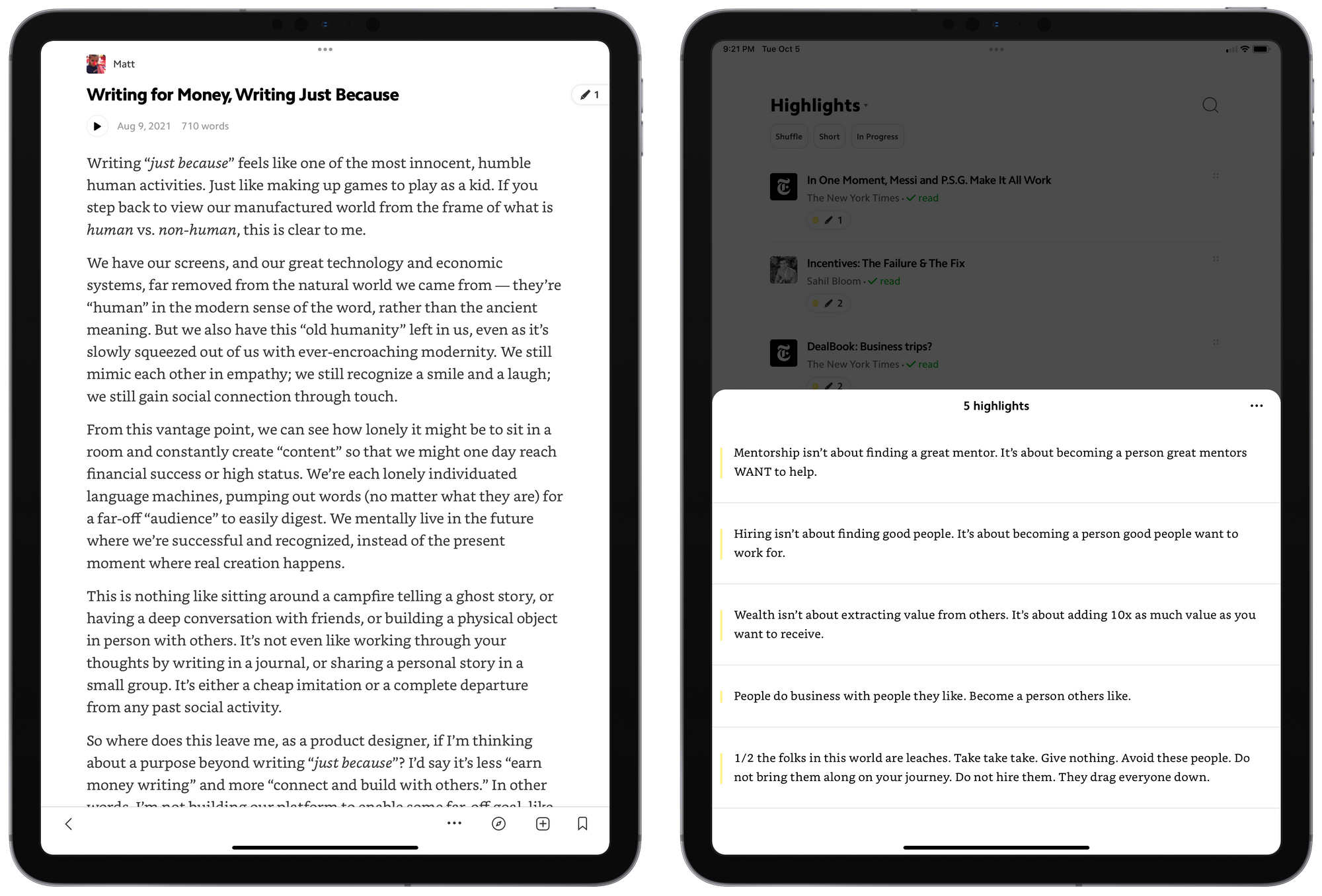 Matter has one of my favourite designs of any app in a long, long time. The app is a joy to use and has uncovered loads of great writing to enjoy.